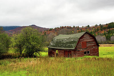 Photograph - Old Red Adirondack Barn by Nancy De Flon