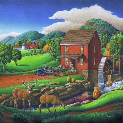 Old Mill Scenes Painting - Old Red Appalachian Grist Mill Rural Landscape - Square Format  by Walt Curlee