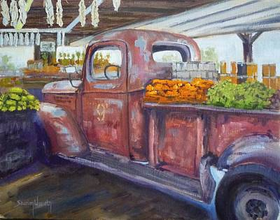 Old Farm Equipment Painting - Old Red At The Farmers Market by Sharon Weaver