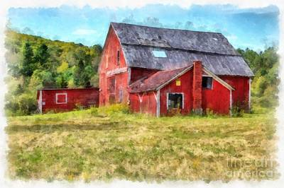 Digital Art - Old Red Barn Abandoned Farm Vermont by Edward Fielding