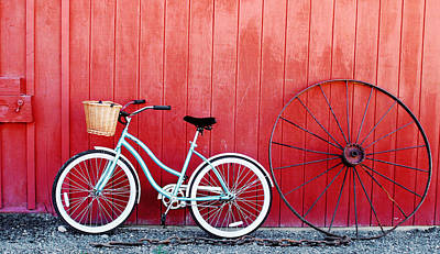 Wagon Mixed Media - Old Red Barn And Bicycle by Margaret Hood