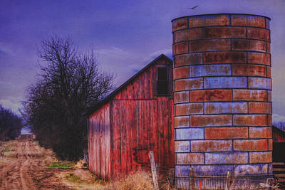 Photograph - Old Red Barn And Rusted Silo by Anna Louise