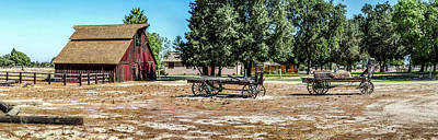 Photograph - Old Red Barn And Wagons - Panorama by Gene Parks