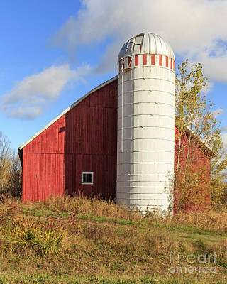 Old Red Barn And White Silo Stowe Vermont Art Print