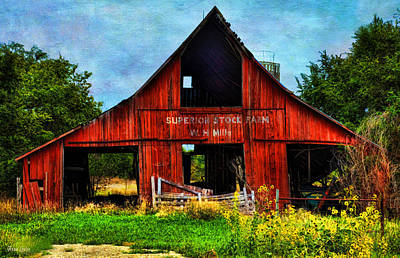 Photograph - Old Red Barn And Wild Sunflowers by Anna Louise