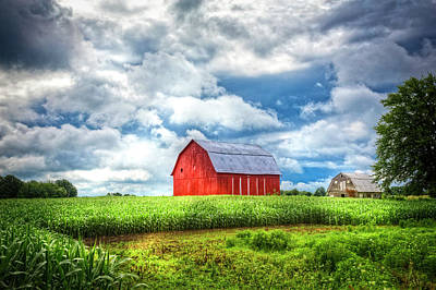 Photograph - Old Red Barn In The Sun by Debra and Dave Vanderlaan