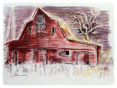 Old Red Barn Stands Loyal To The Royals Art Print by Barbara Chase