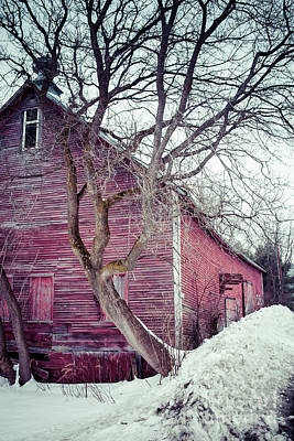 Photograph - Old Red Barn Winter In Vermont by Edward Fielding
