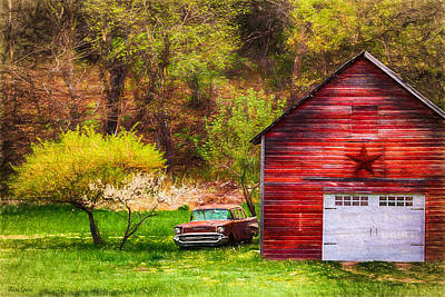 Photograph - Old Red Barn With Classic Chevrolet by Anna Louise