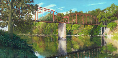 Painting - Old Red Bridge Across American River by Mike Patterson
