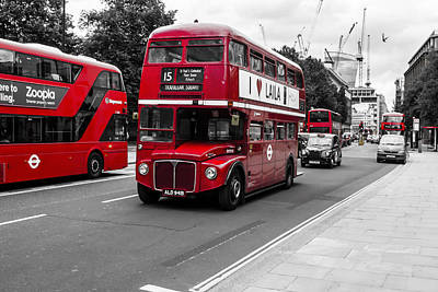Old Red Bus Bw Art Print