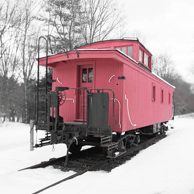 Photograph - Old Red Caboose Square by Edward Fielding