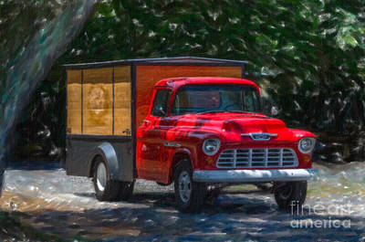 Digital Art - Old Red Chevrolet Work Truck by Dale Powell