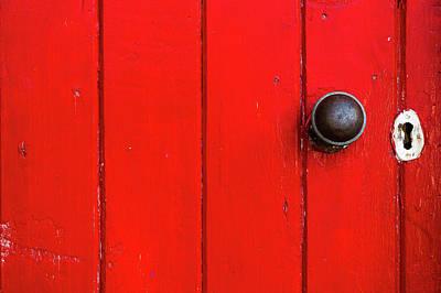 Photograph - Old Red Door  by Brett Christensen