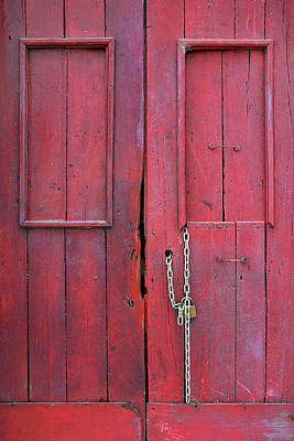 Photograph - Old Red Door Detail by Carlos Caetano