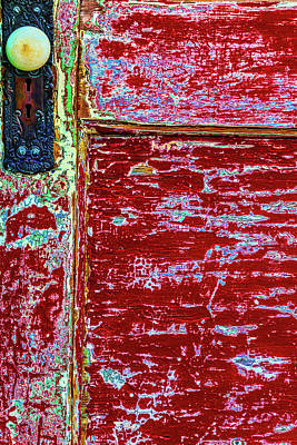Peeling Painted Wood Wall Art - Photograph - Old Red Door With Door Knob by Garry Gay