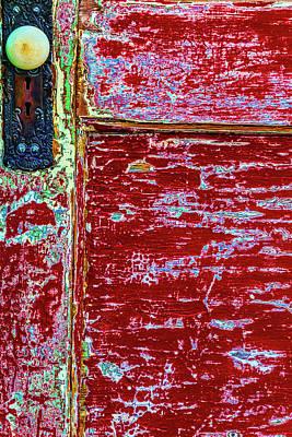 Photograph - Old Red Door With Door Knob by Garry Gay