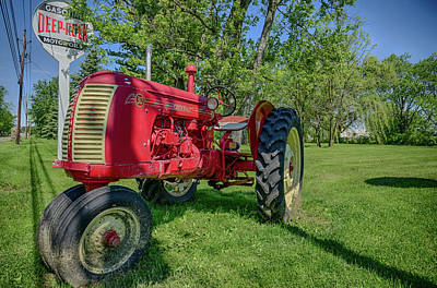 Photograph - Old Red Farm Tractor by Anthony Doudt