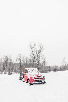 Old Chevy Truck Wall Art - Photograph - Old Red Farm Truck In The Snow by Edward Fielding