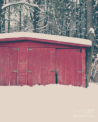 Photograph - Old Red Garage In The Snow by Edward Fielding