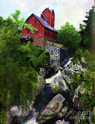Painting - Old Red Mill In Jericho Vt by Donna Walsh