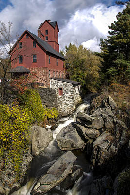 Rich Brown Frame Photograph - Old Red Mill Jericho Vermont by Paul Cannon