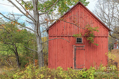 Photograph - Old Red New England Barn Building Woodstock Vermont by Edward Fielding