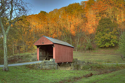 Photograph - Old Red Or Walkersville Covered Bridge by Jack R Perry