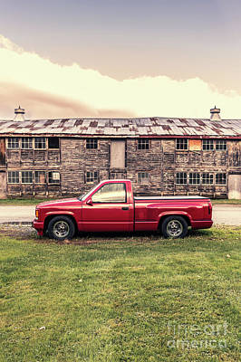 Photograph - Old Red Pick Up Truck In Front Of An Old Chicken Coop by Edward Fielding