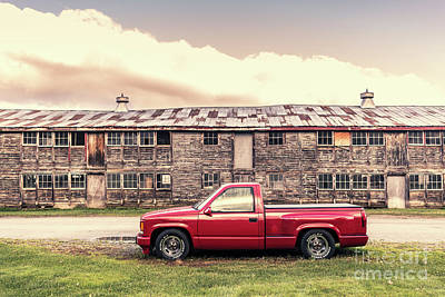 Photograph - Old Red Pickup Truck Stowe Vermont by Edward Fielding