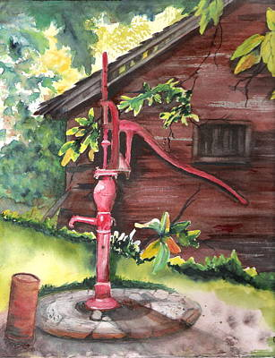 Painting - Old Red Pump  by Marsha Woods
