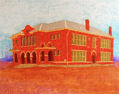 Brick Schools Painting - Old Red Somerville School by John Pinkerton
