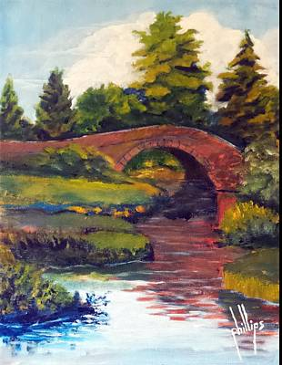 Painting - Old Red Stone Bridge by Jim Phillips