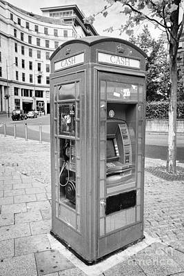 Atm Machine Photograph - old red telephone box converted into a phone box and atm cash machine Birmingham UK by Joe Fox