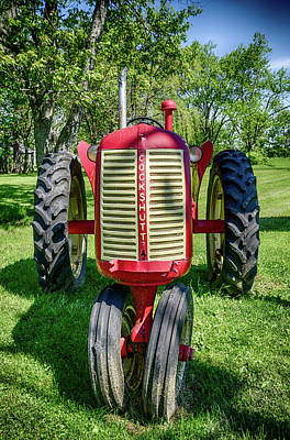 Photograph - Old Red Tractor  by Anthony Doudt