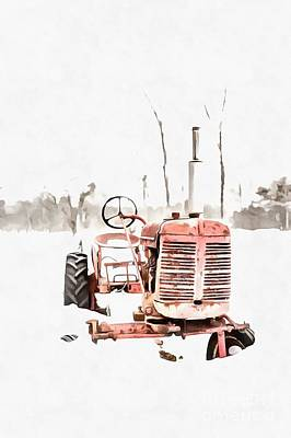 Digital Art - Old Red Tractor In The Snow Painting by Edward Fielding