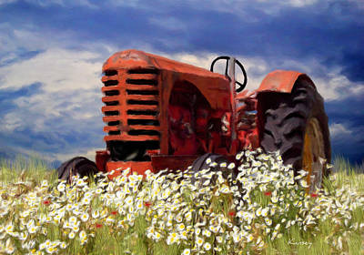 Painting - Old Red Tractor by Johanne Dauphinais