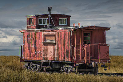 Old Red Train Caboose Art Print