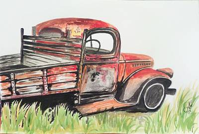 Painting - Old Red Truck by Anne Gardner