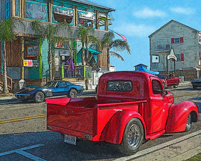 Bay St. Louis Ms Wall Art - Photograph - Old Red Truck Corvette Cruising The Coast by Rebecca Korpita