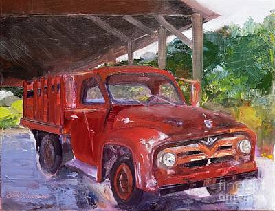 Painting - Old Red Truck - Mountain Valley Farms - Ellijay by Jan Dappen
