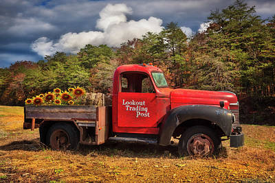 Photograph - Old Red Truck On The Farm by Debra and Dave Vanderlaan