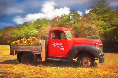 Photograph - Old Red Truck On The Farm Watercolor Painting by Debra and Dave Vanderlaan