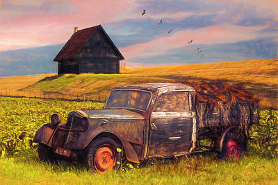 Photograph - Old Retired Rusty In Autumn Painting by Debra and Dave Vanderlaan