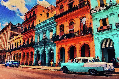 Painting - Old Retro Car In Havana by PixBreak Art