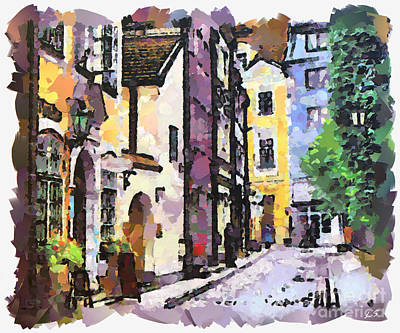 Drawing - Old Riga Street by Sergey Lukashin