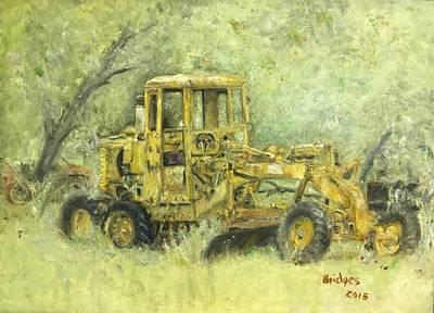 The Old Yellow Road Grader Art Print