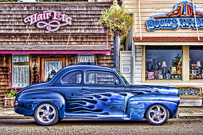 Hotrod Photograph - Old Roadster - Blue by Carol Leigh