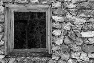 Photograph - Old Rock Wall Window Grayscale by Jennifer White