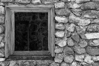 Photograph - Old Rock Wall Window Grayscale by Jennifer White